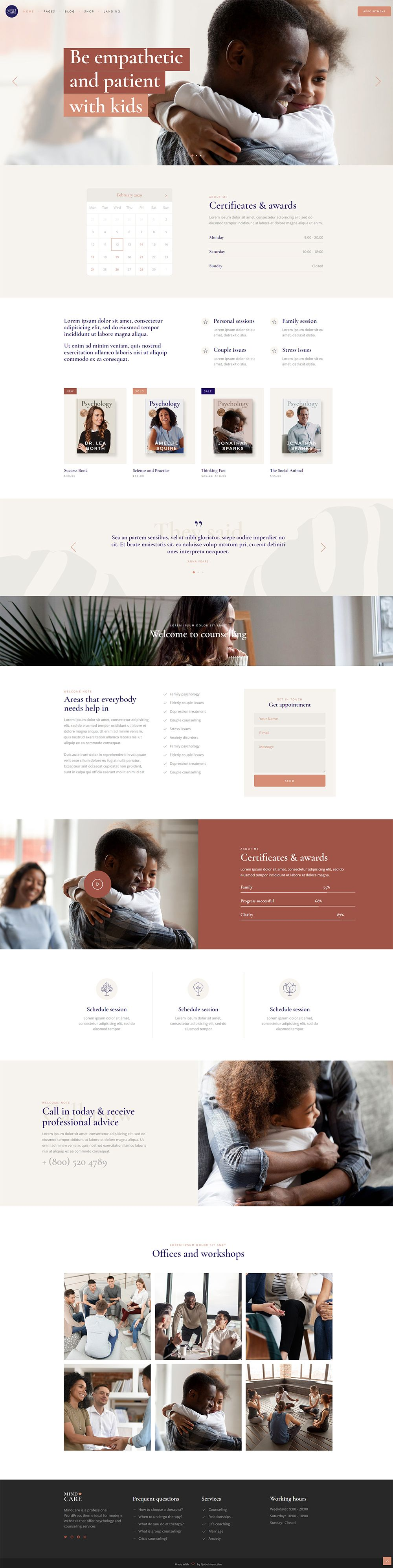 Mindcare Psychology Home In 2020 Professional Wordpress Themes Psychology Web Design Trends