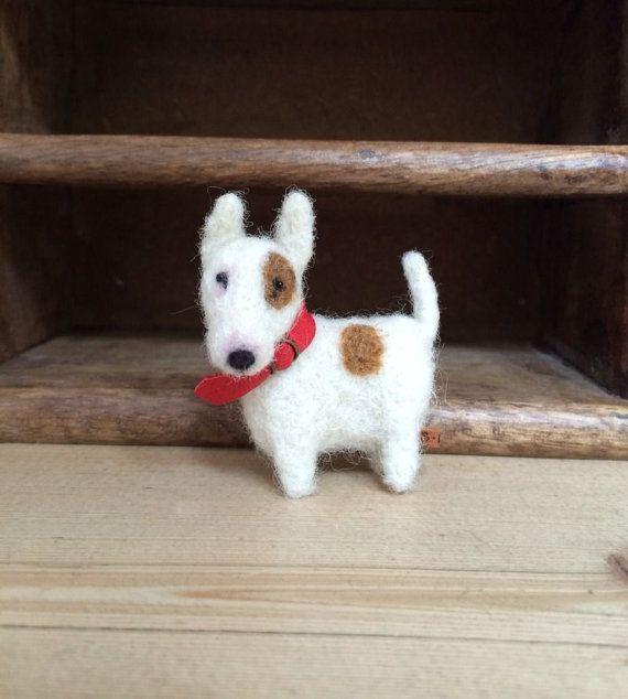 Items similar to English Bull Terrier Gift Felted Dog Handmade mini bear dog one of a kind Trimble Berry Bears on Etsy