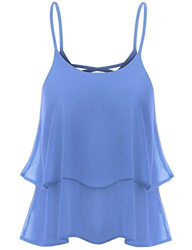 008fb664e5c TWINTH Cami Tank Top Blouse Plus Size Shirring Chiffon at Amazon Women s  Clothing store