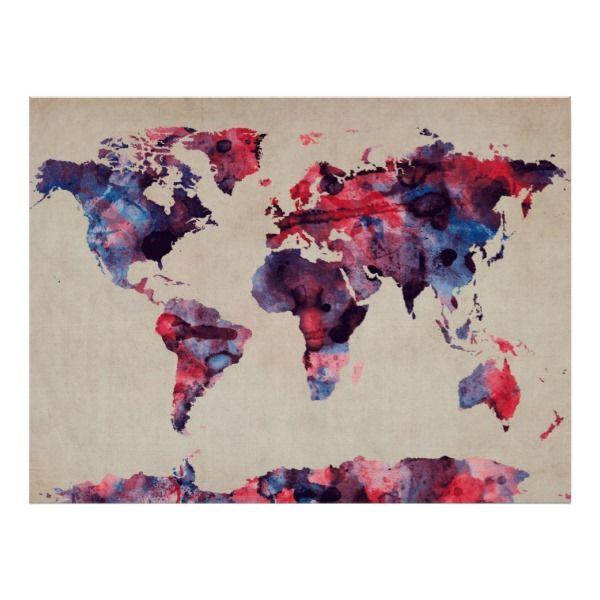 Poster Weltkarte Kunst Weltkarte Leinwand Kartenkunst