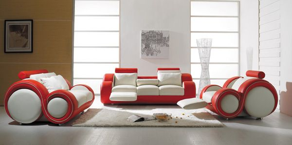 Beau Vig Furniture T 27   Contemporary White And Red Leather Sofa Set