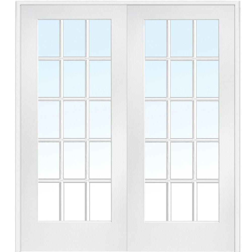 Mmi Door 60 In X 80 In Both Active Primed Composite Glass 15 Lite Clear True Divided Prehung Interior French Door Z009321ba French Doors Interior Glass French Doors Prehung Interior French Doors