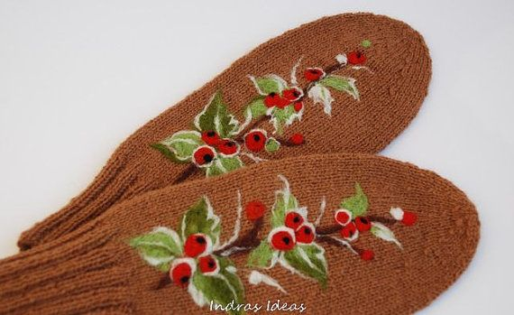 Brown Wool Mittens with  Felted berries
