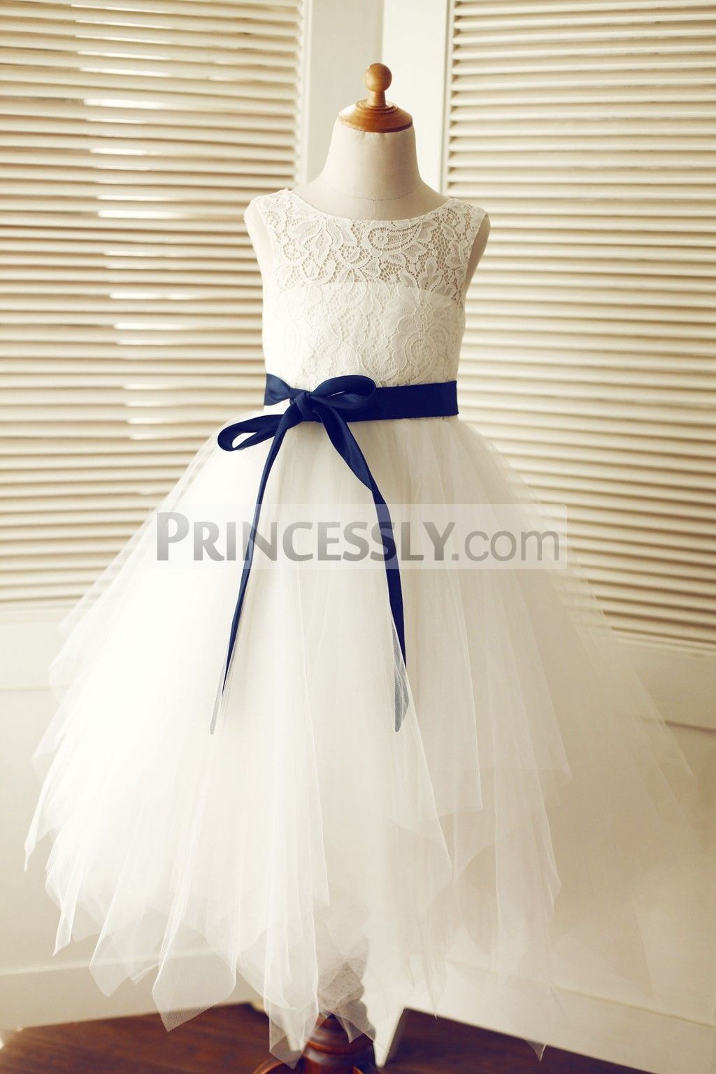 Keyhole ivory lace tulle wedding flower girl dressnavy blue sash in