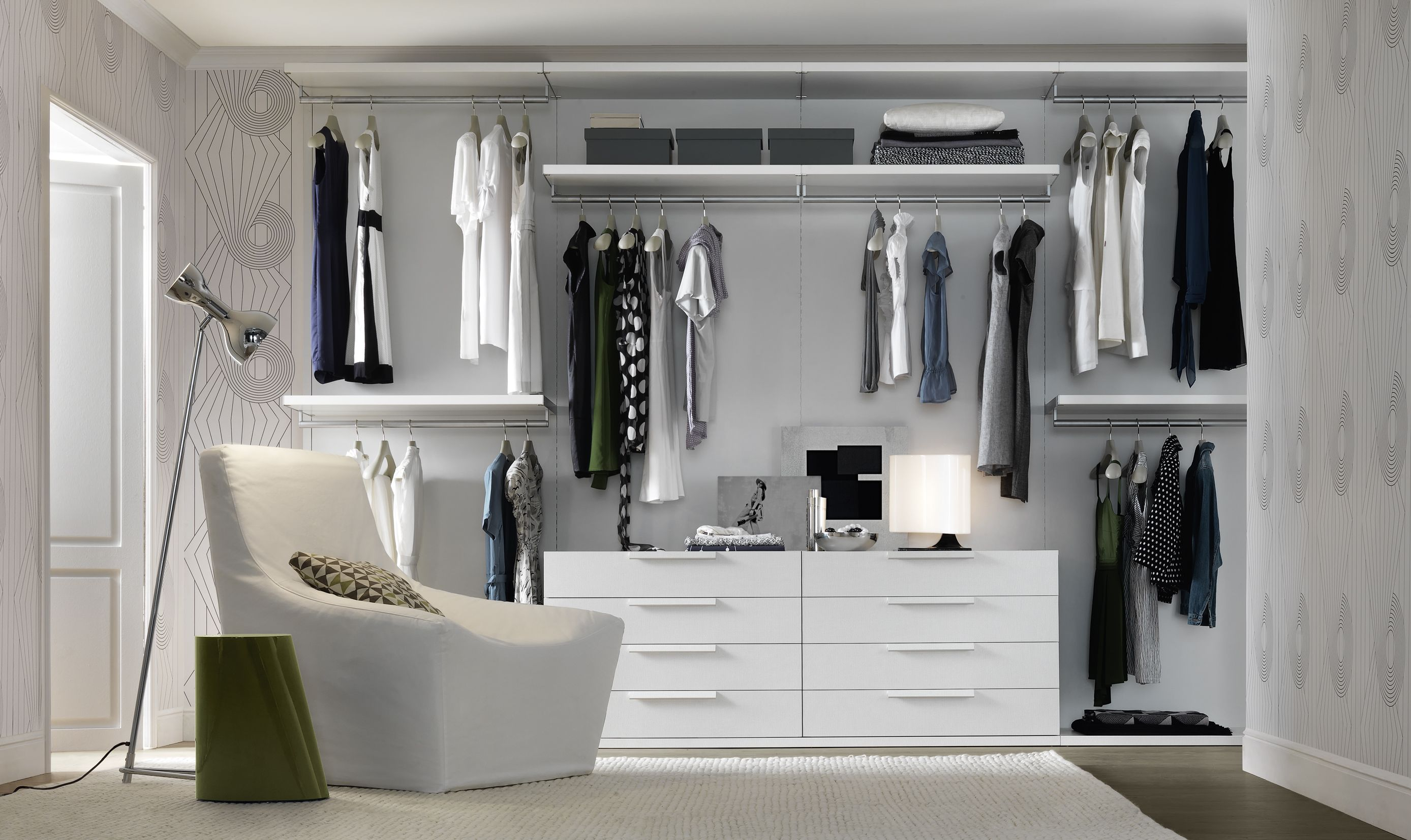 Beauteous White Minimalist Walk In Ikea Closet Open Storage Cabinetry For  Clothes Storage With 6 Drawers. Beauteous White Minimalist Walk In Ikea Closet Open Storage