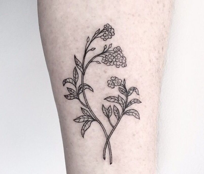 628dd934c black & white forget me not tattoo | Pretty tattoos and drawings ...