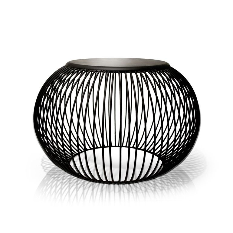 Wire Pouf Stool / Sidetable By Tucker Robbins
