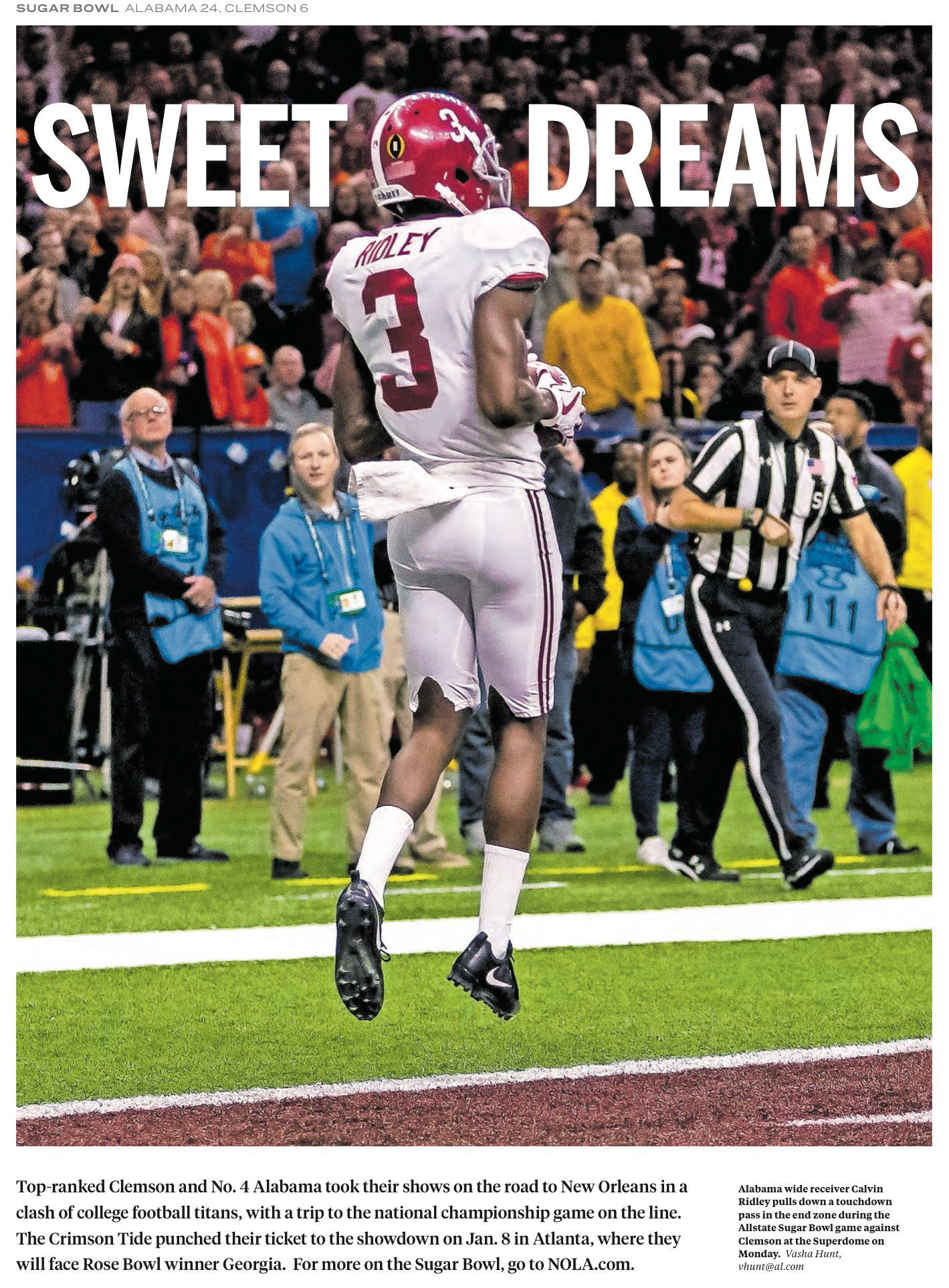 Sweet Dreams Calvin Ridley From The Front Page Of The Huntsville Times On Jan 2 2018 After Bama S 24 Crimson Tide Football Alabama Crimson Tide Alabama