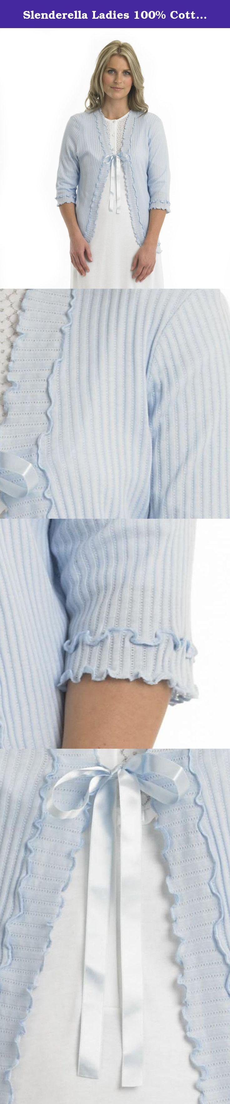 Slenderella Ladies 100 Cotton Lightweight Bed Jacket Frilled Trim
