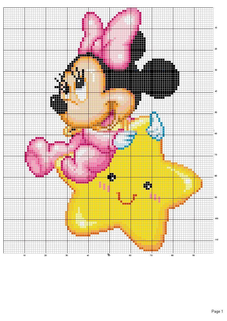 Baby Minni E Mickey Mouse A Punto Croce вышивка