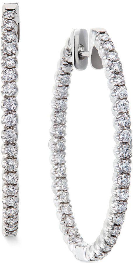 Diamond Hoop Earrings In 14k White Gold 2 Ct T W