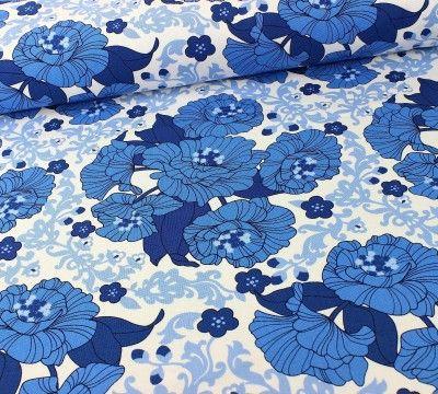 Canvas Stoff mit Blumen blau / Robert Kaufmann #stofftrends #stoff ...