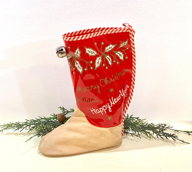 Vintage Vinyl Cowboy Boot, Christmas Candy Holder, Mid