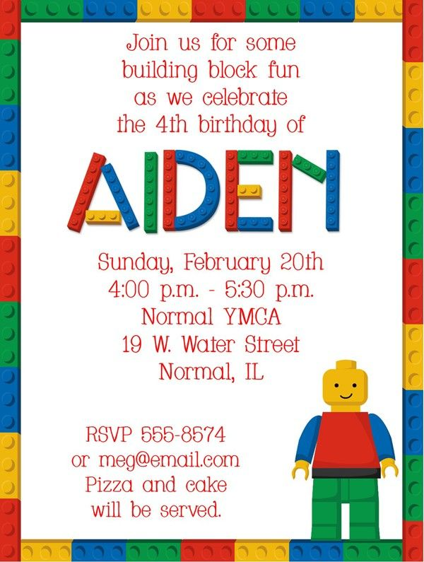 Lego Party Invitation Wording Cobypic