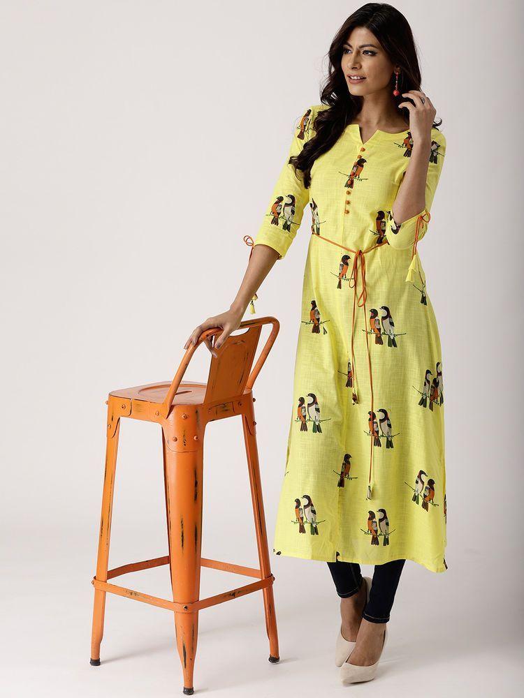 Pakistani Ethnic Straight Dress Cotton Printed Mustard Yellow /& Navy Blue
