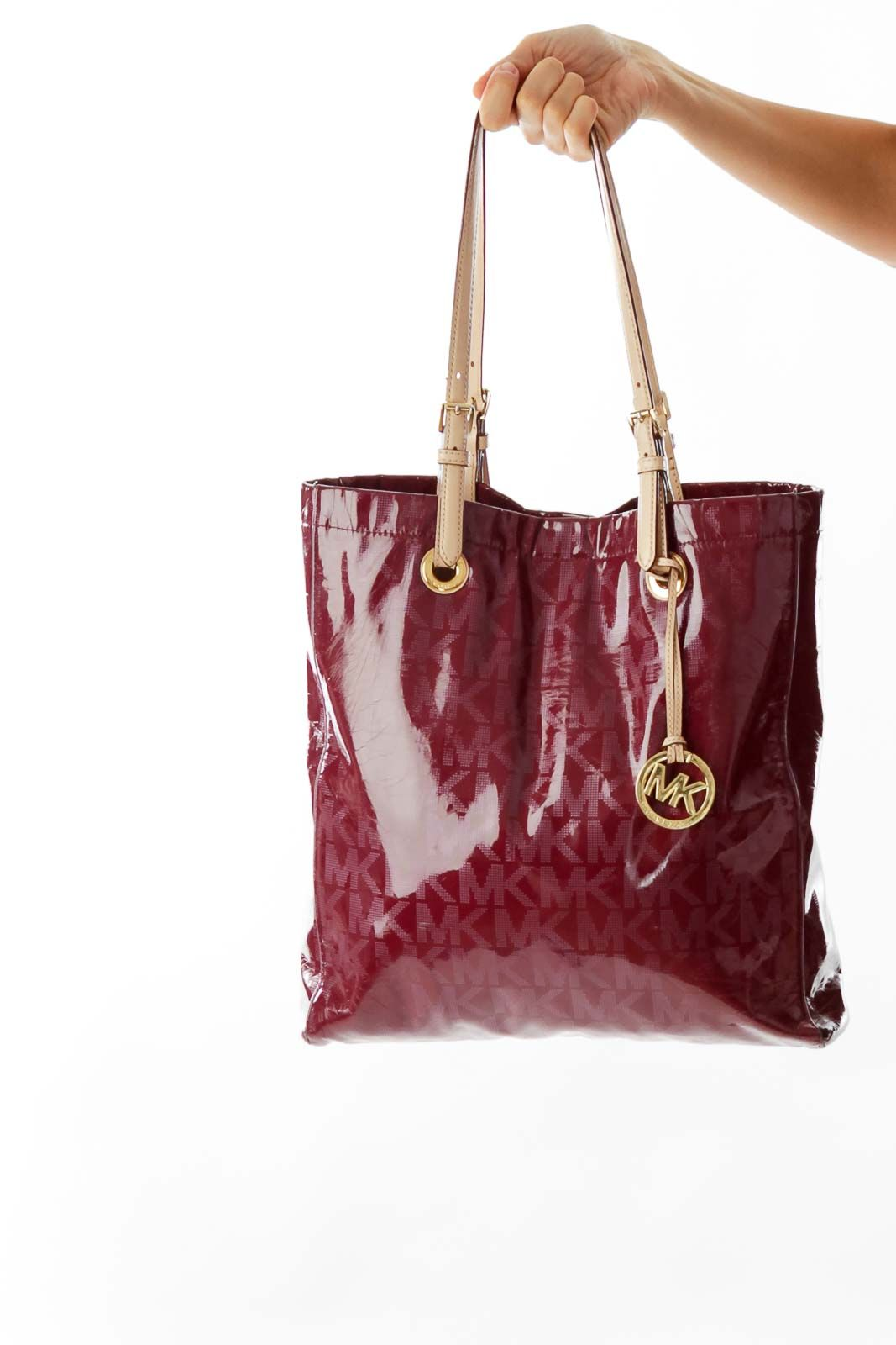 c9f2388aaa2c Elegant handbags for work burgundy patent leather monogram bag by Michael  Kors #silkroll