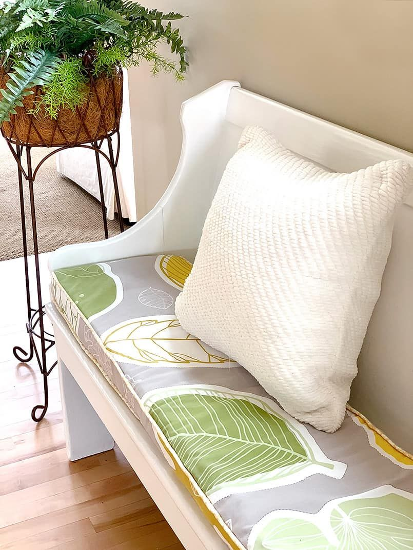 Diy Bench Cushion Cover Sewing Be Brave And Bloom In 2020 Bench Cushion Cover Diy Bench Cushion Bench Cushions