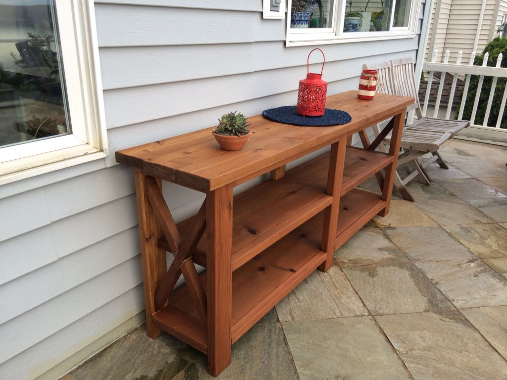 Rustic buffet table furniture - Outdoor Buffet Server Built From Cedar Using Ana White S Rustic X Console Table Plans