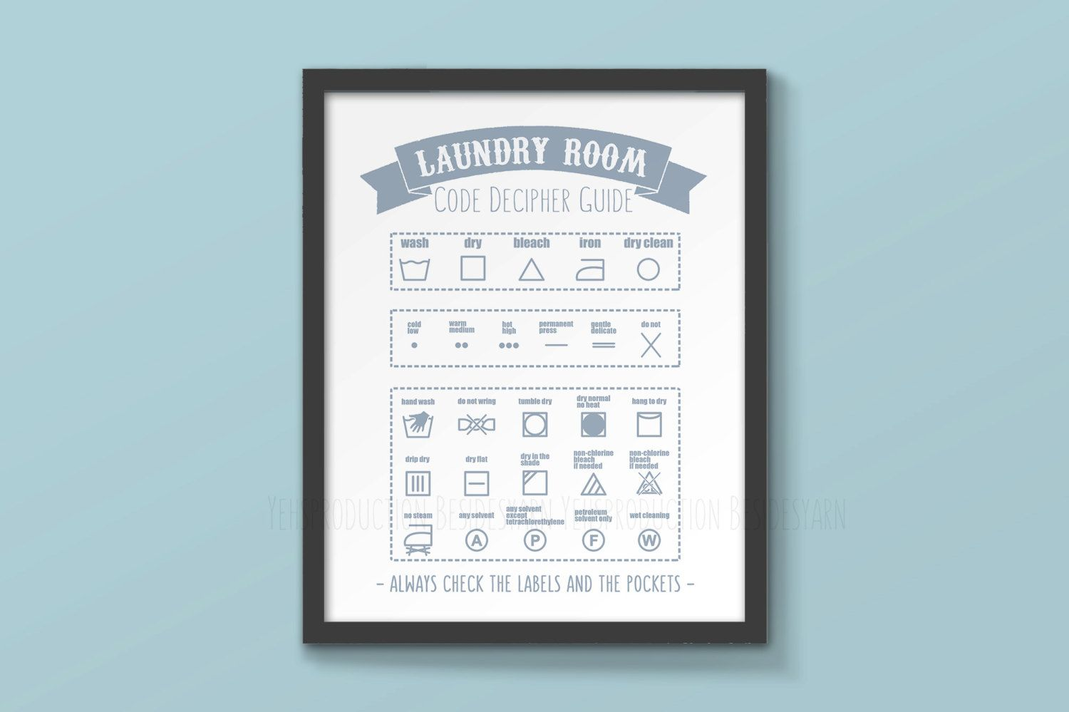 Laundry Symbols Wall Art Laundry Room Decor Art Laundry Guide Print Laundry Symbols Care