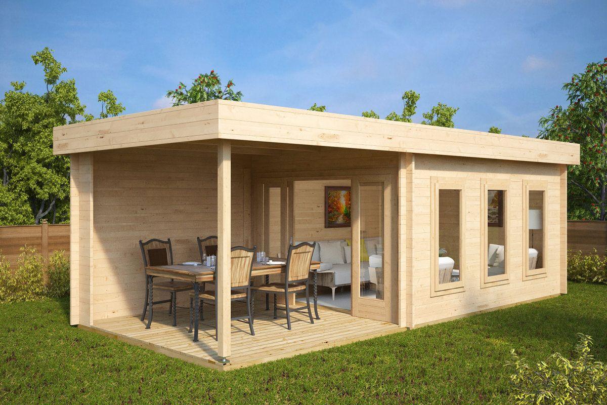Modernes Gartenhaus Mit Terrasse Jacob E 12m 44mm 3x7 Gartenhaus Mit Terrasse Gartenhaus Gartenhaus Mit Veranda