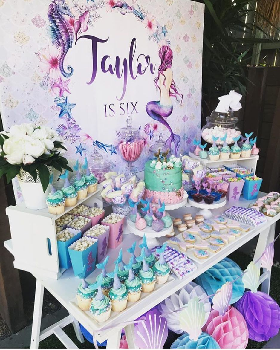 It S Always A Good Time For A Mermaid Party This Sixth B Mermaid Birthday Party Food Mermaid Birthday Party Decorations Birthday Party Decorations