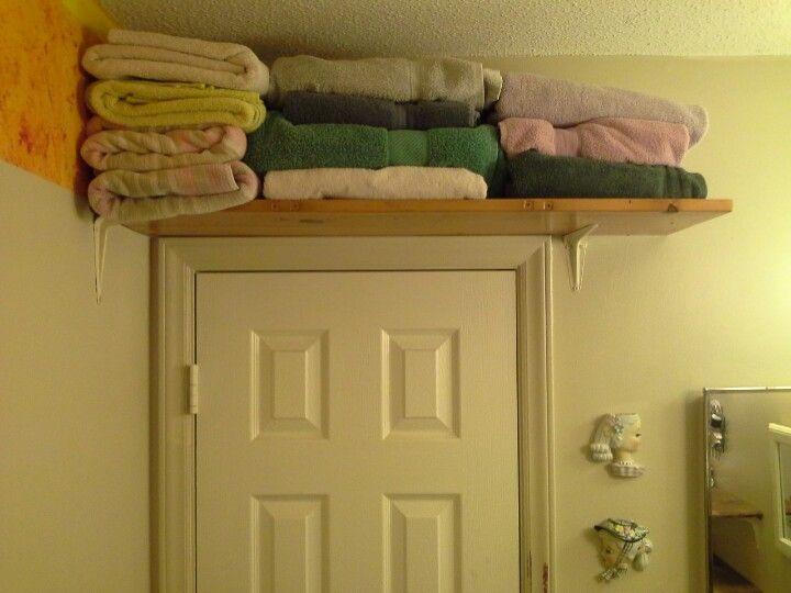 No Linen Closet? Put Up A Shelf Over The Door. I Recycled A Wooden