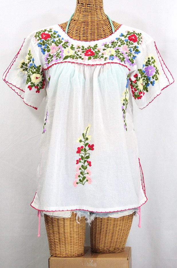 La Lijera Embroidered Peasant Blouse Mexican Style White Clothes