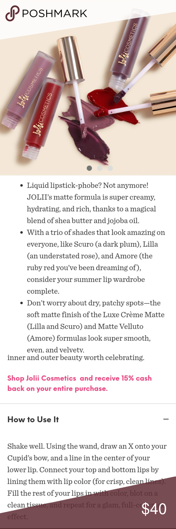 JOLII Luxe Cream matye Trio NIB 3 pc set 2.5 ml x 3 Colors:Scuro,Lilla,Amore Bundle 5 + items for 30% off the total💗 Sephora Makeup Lipstick