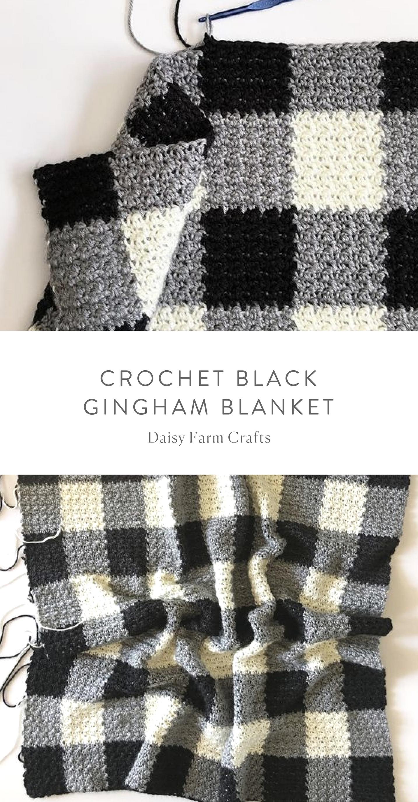 Free Pattern - Crochet Black Gingham Blanket | Crochet | Pinterest ...