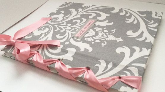 2723a15c8fd6f Baby Book Girl Baby Memory Book Pink and Gray Damask Baby Book ...