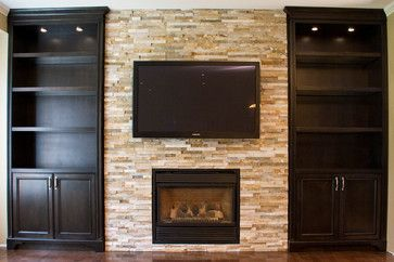 Glass Shelves Built-in Units Around Fireplace traditional living room