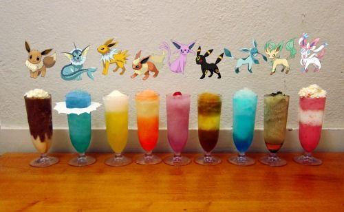 Frozen Eeveelution drinks (Pokemon cocktail set)