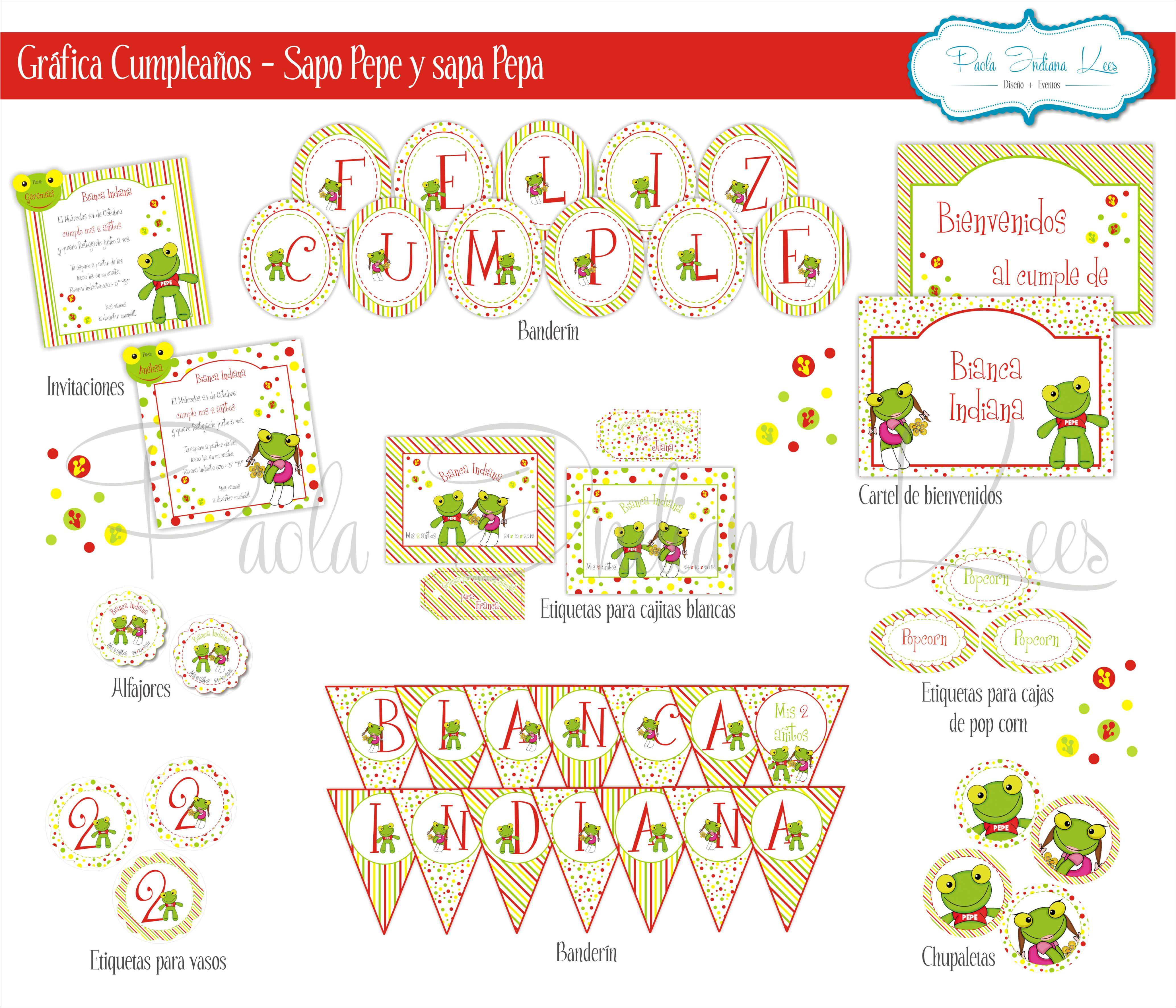 Gráfica para #cumpleaños - #Sapo #Pepe y #Sapa #Pepa   Imprimibles ...
