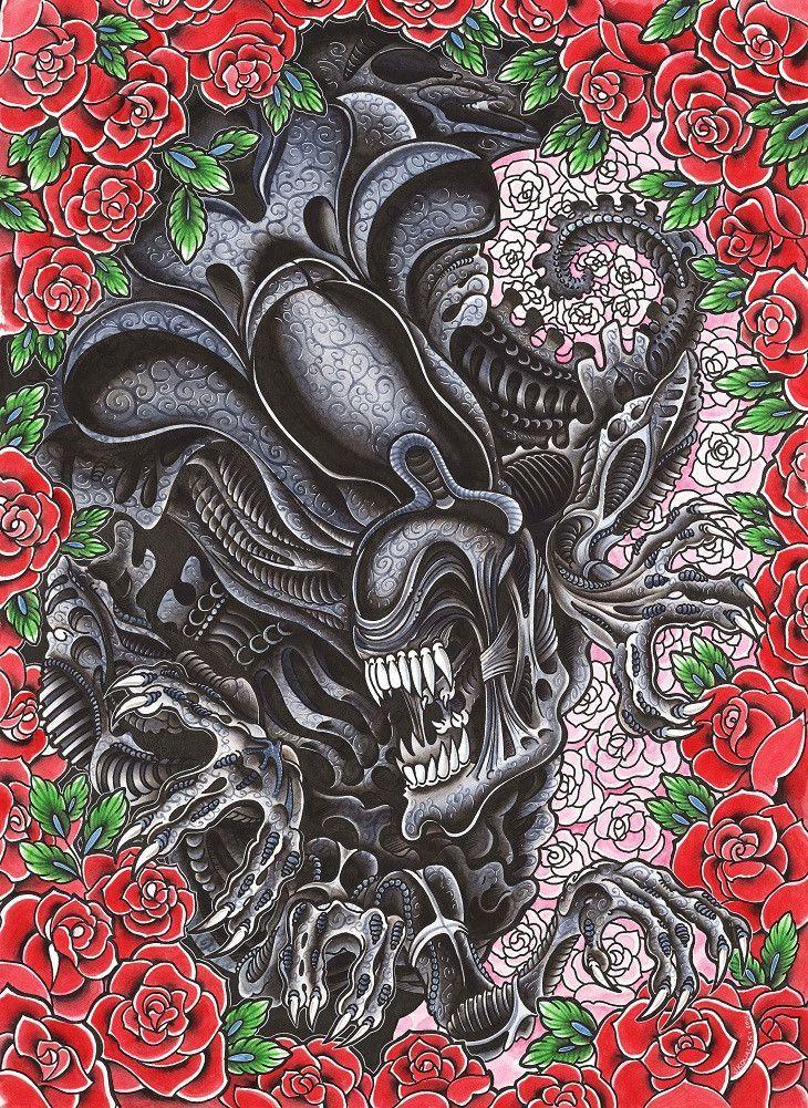 Alien queen by joe kowalski scifi monster movie canvas