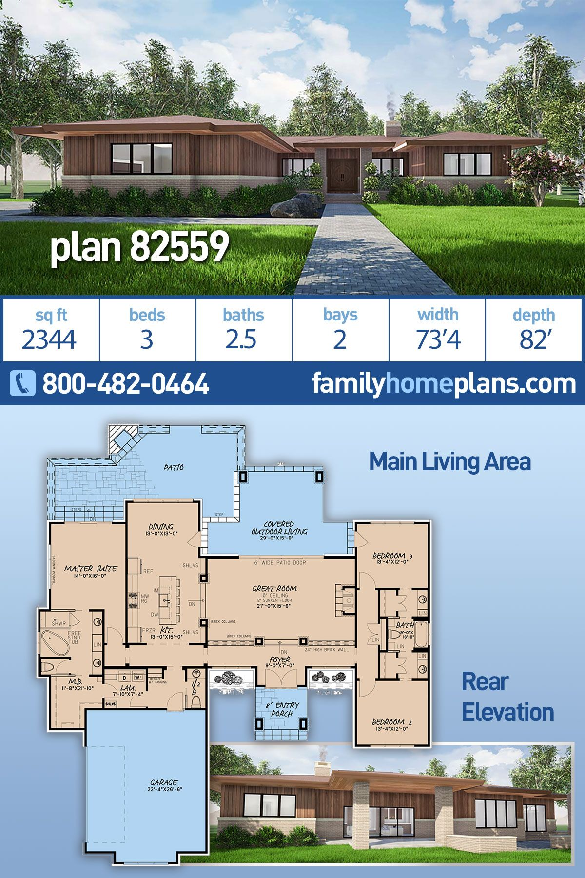 Prairie Style House Plan 82559 With 3 Bed 3 Bath 2 Car Garage In 2020 Modern House Plans Prairie Style Houses House Plans