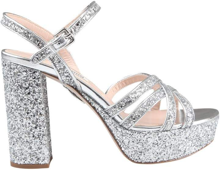 9478ac1195e2 Miu Miu Miumiu Glittered Platform Sandals in 2019 | Products ...