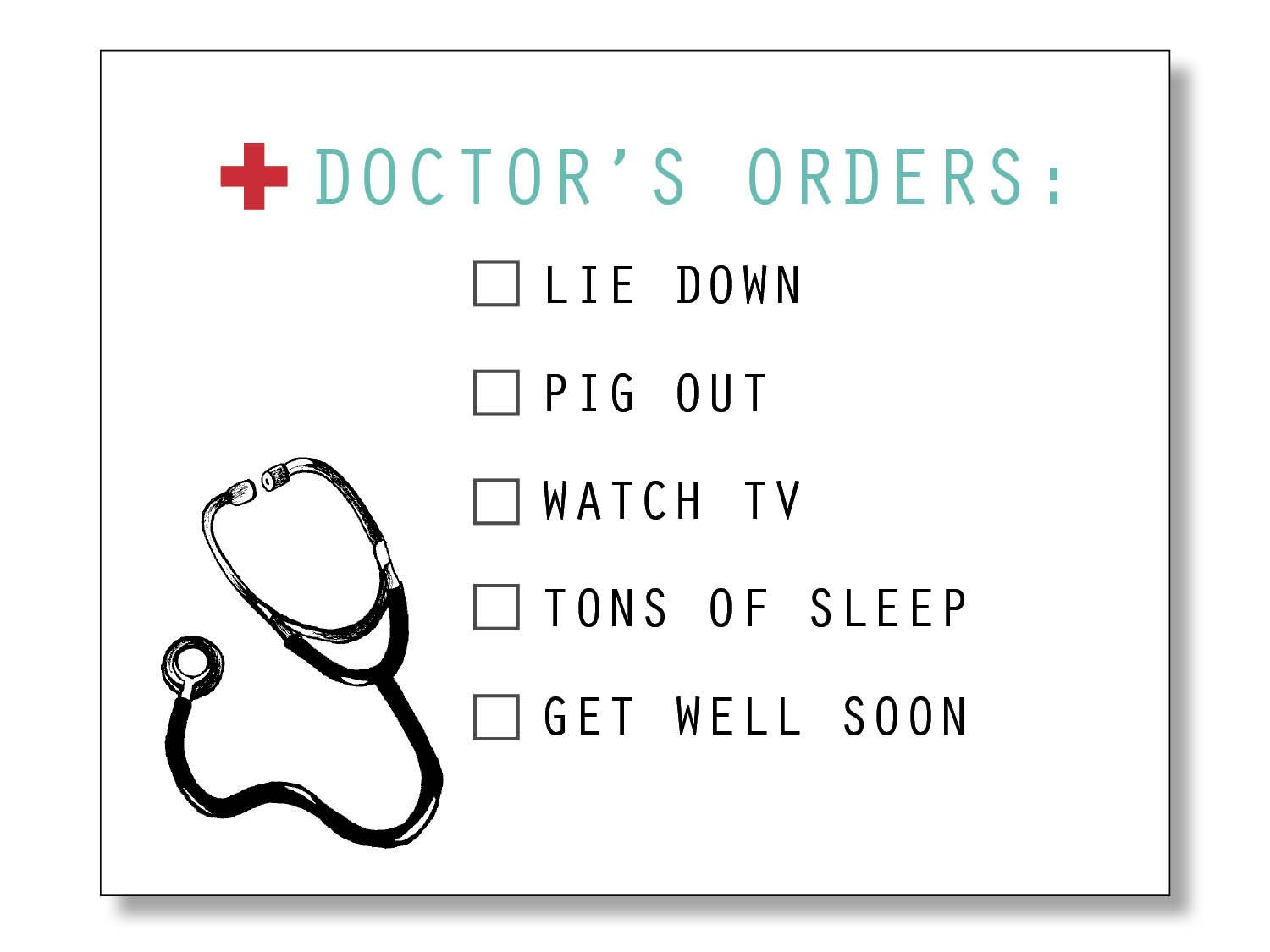 Doctor S Orders Funny Get Well Card Get Well Soon Hospital Card