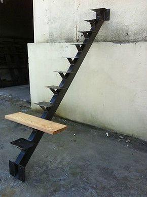 Escalier Acier Droit Pour Marches Bois Ebay Escalier