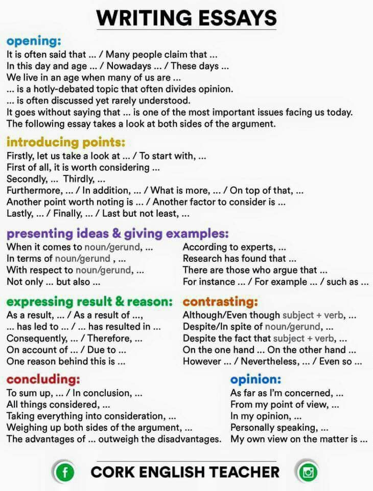 Writing Essays Connectors And Phrases  Esl    School