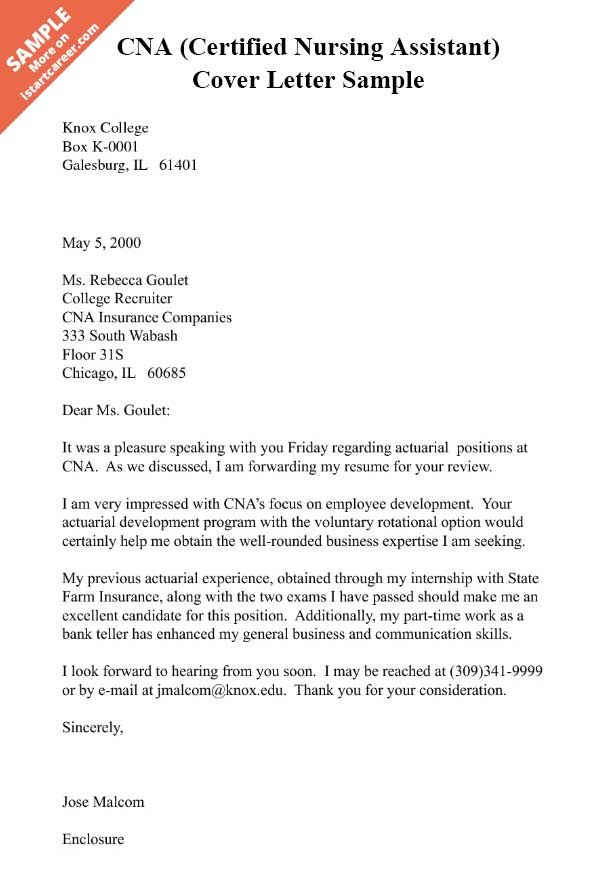 CNA (Certified Nursing Assistant) Cover Letter Sample Cover - cna cover letter