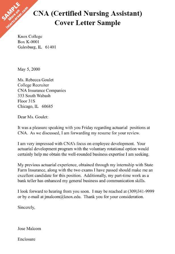 CNA Certified Nursing Assistant Cover Letter Sample  NurseLyfe  Nursing assistant