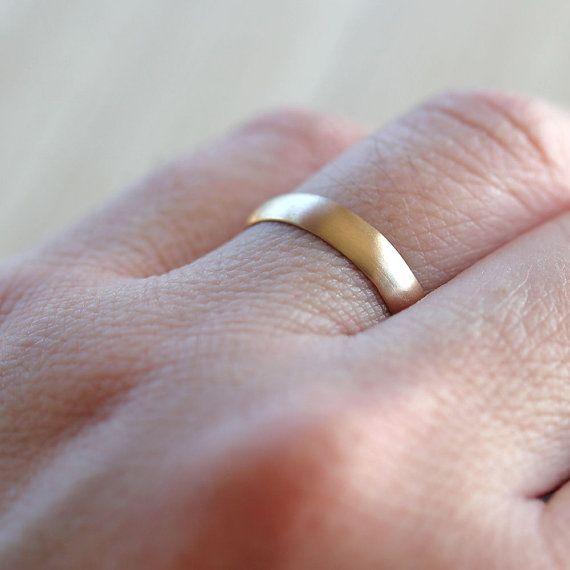 Men S Wedding Band 4mm Half Round Recycled 10k Gold Wedding Ring