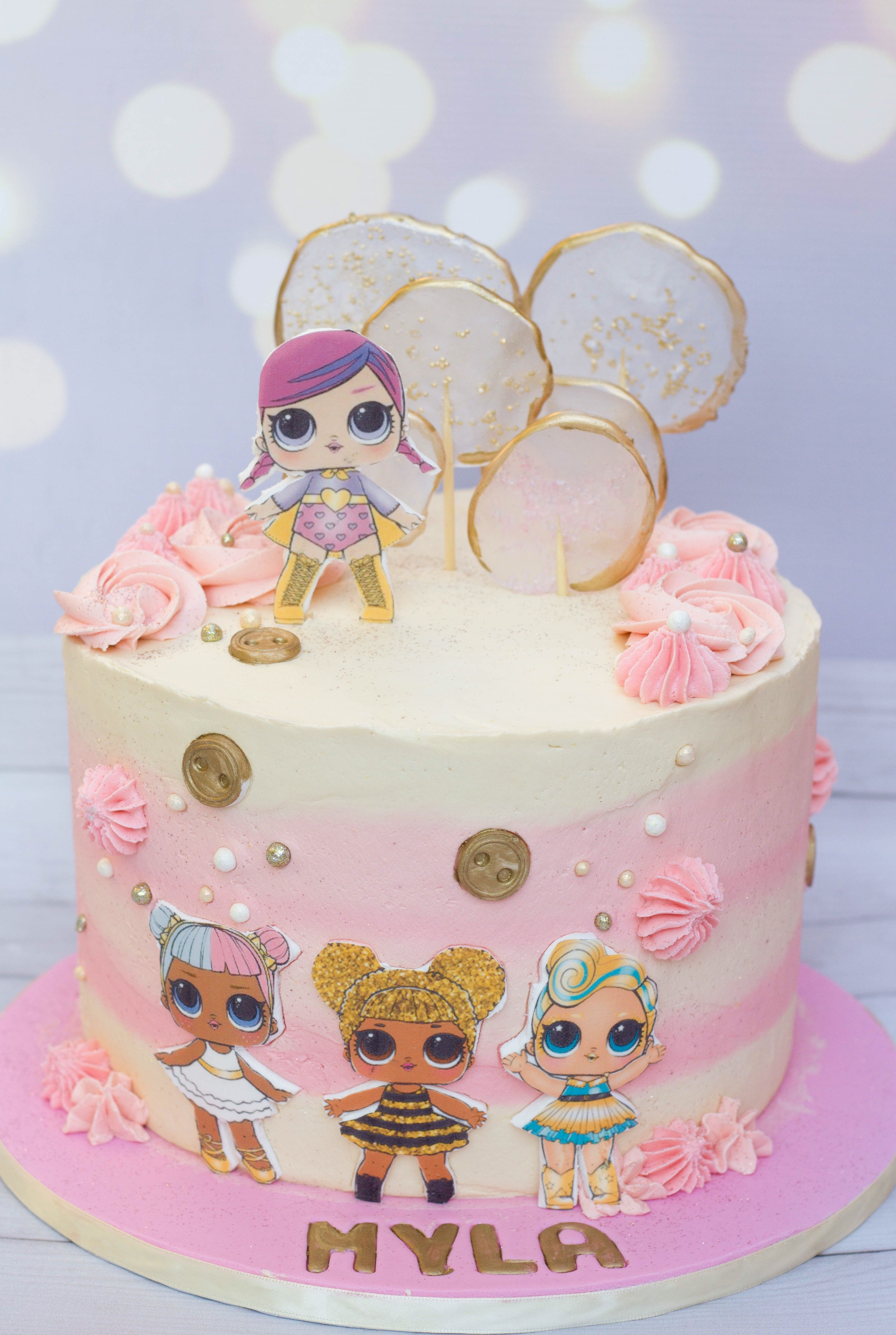 Pink and gold LOL dolls cake Lol doll cake, Doll cake