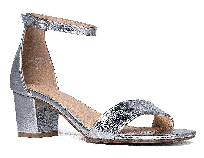 Amazon Com Ankle Strap Kitten Heel Adorable Low Block Heel Daisy By J Adams Sandals Wedding Shoes Heels Low Block Heels Mid Heel Sandals