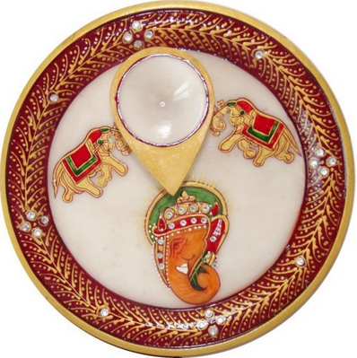 Handmade Marble Pooja Thali with Diya!!  Find out more products: http://ow.ly/rbsYZ  #Marble #Gifts #Collectable
