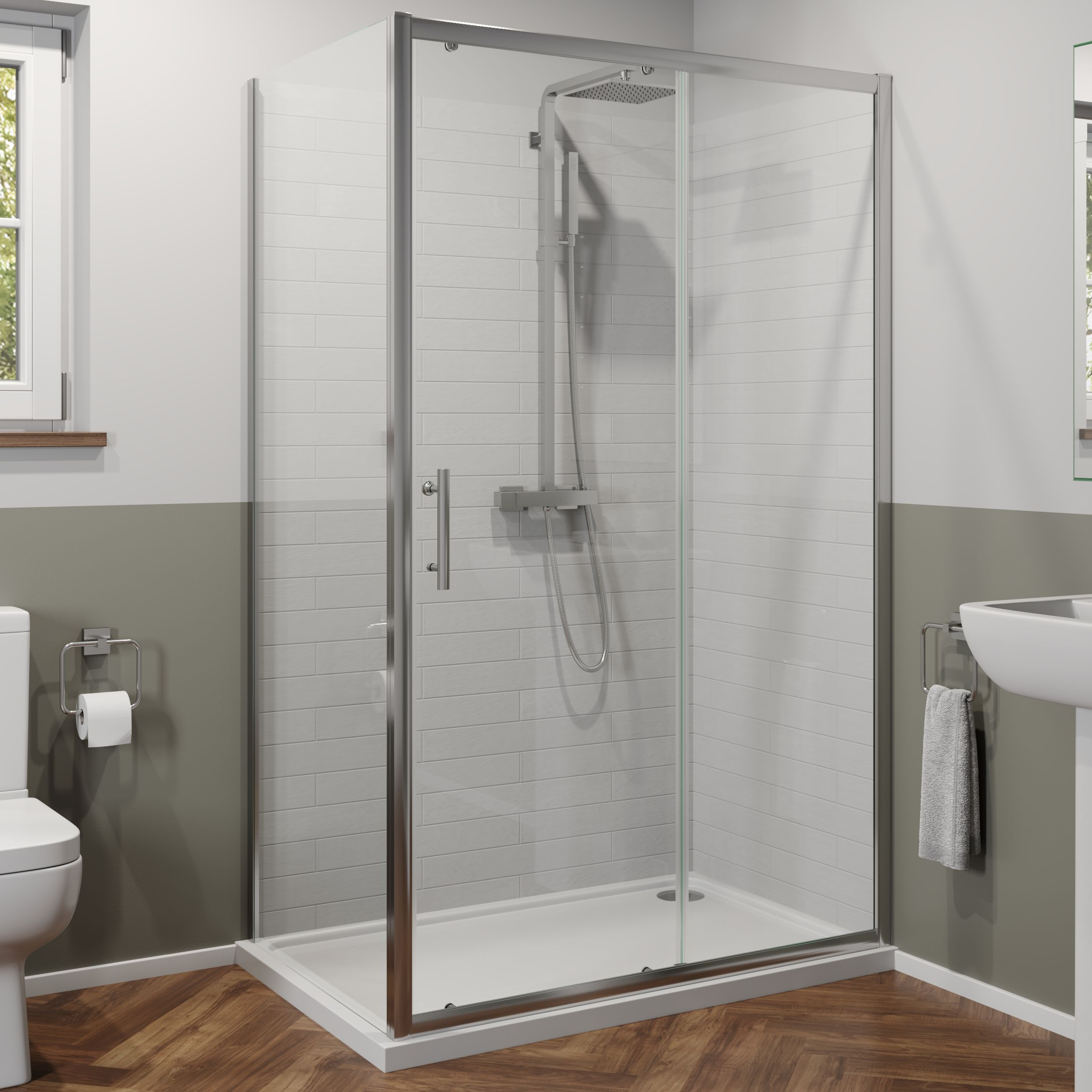 Luxura 1400 X 700mm Sliding Shower Door Side Panel 6mm Glass With 1400 X 700mm Tray Shower Doors Sliding Shower Door Shower Enclosure
