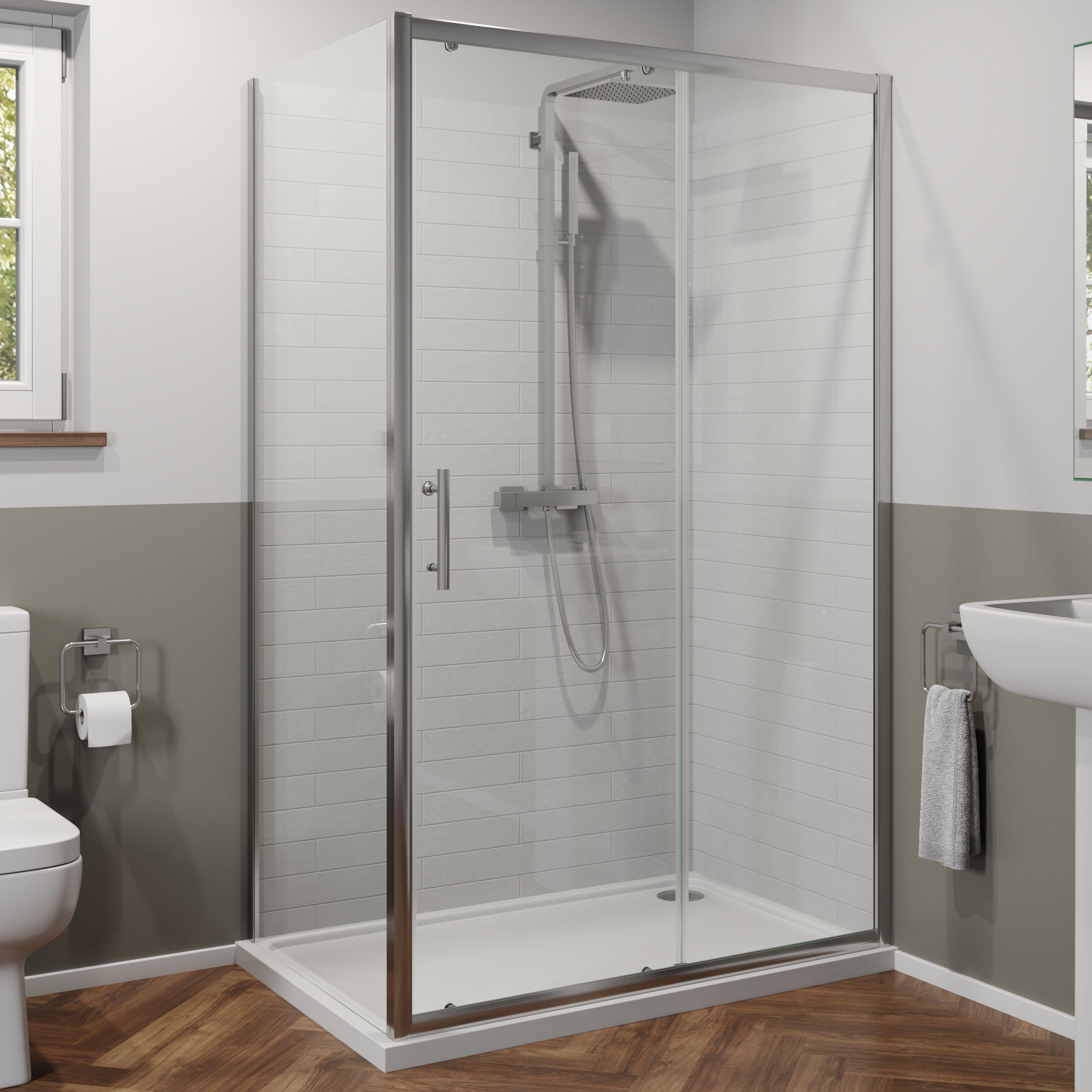 Luxura 1400 X 700mm Sliding Shower Door Side Panel 6mm Glass