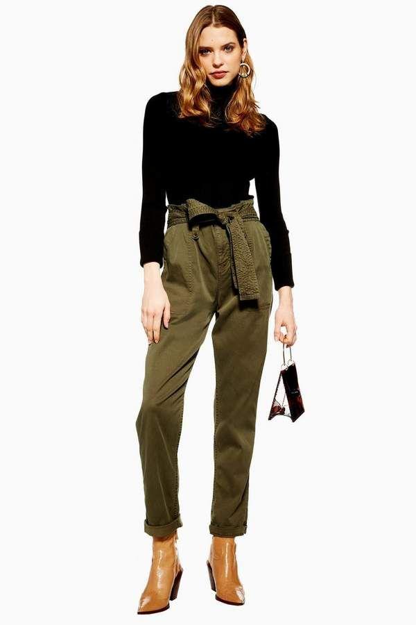 später attraktive Mode bieten eine große Auswahl an Khaki Paperbag Utility Cargo Trousers | spring 20 in 2019 ...