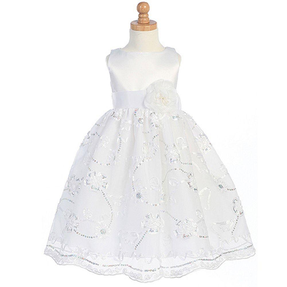 Lito Girls White Satin Tulle Floral Flower Girl Easter Dress 2t 12 Girls Easter Dresses Flower Girl Dresses Dresses [ 1001 x 1001 Pixel ]