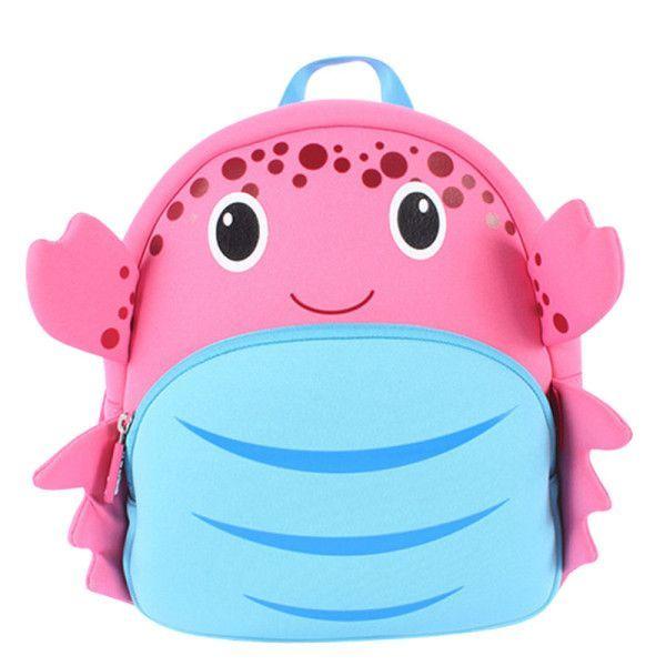 NOHOO Children s Plush School Bags Kids Toy Backpacks 25cm Preschool Girls  Boys Zoo Pack Cute Cartoon Animal crab-30 5b052a82762c0